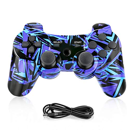 Powcan PS3 Controller, Wireless Controller für PS3,Bluetooth Gamepad Joystick,Dual-Vibration 6-Achsen Gaming Controller mit Ladekabel für PS3 Controller PC und Windows 7/8/ 9/10 (Hellblau)