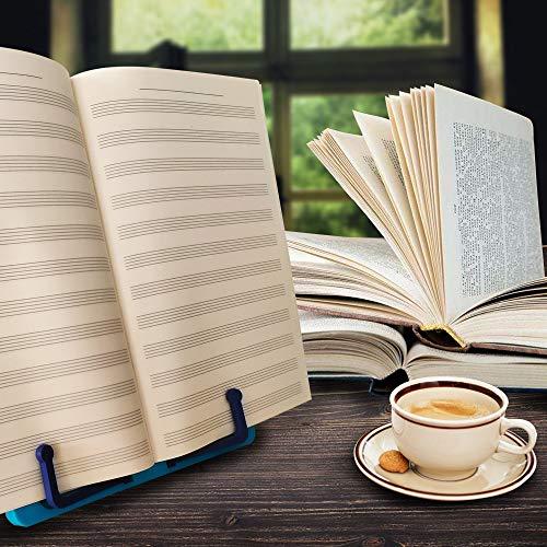 Verstellbarer tragbarer Buchständer Buchhalter Leseständer Kochbuch Bücherablage zum Lesen von Kochbuch Dokument mit faltbarer blau -