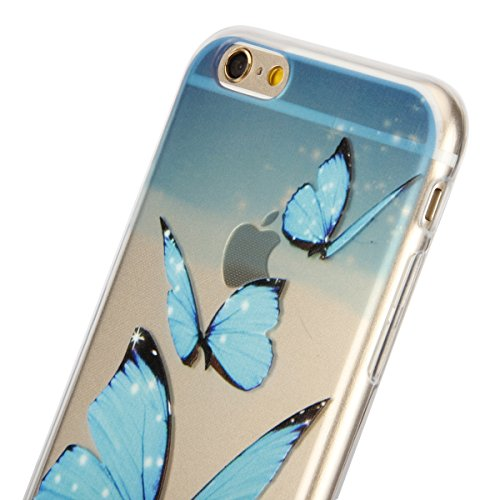 iPhone 6 Handyhülle,iPhone 6S Fall Case,CLTPY Kunst Malerei Muster Pattern Foto Serie [Crystal Transparent] Silikon TPU Extra Schutzhülle für Apple iPhone 6/6S,Kratzfeste Anti-Stoß Leichte Thin Clear  Blaue Schmetterlinge