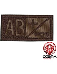 Cobra Tactical Solutions Parche Bordado Militar Tipo Sangre AB POS marrón para Airsoft/Paintball para