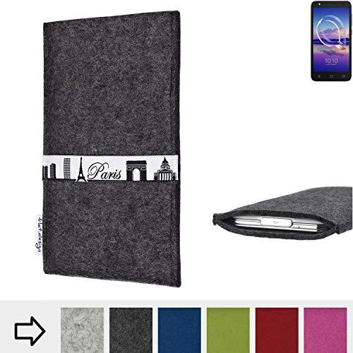 flat.design für Alcatel U5 HD Single SIM Schutzhülle Handy Case Skyline mit Webband Paris - Maßanfertigung der Schutztasche Handy Hülle aus 100% Wollfilz (anthrazit) für Alcatel U5 HD Single SIM