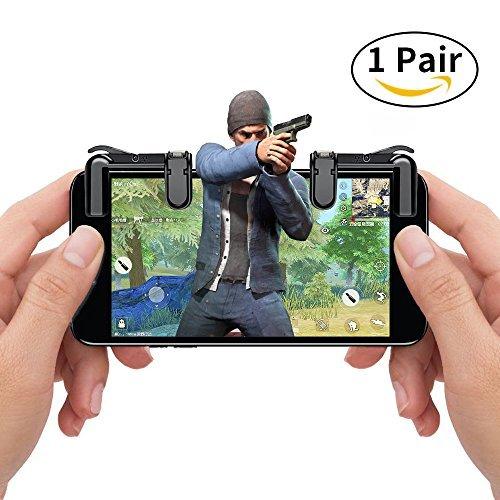 Mobile Game Controller, Handy Spiel Fire Button Ziel Schlüssel Joystick Smart Phone pubg Messer Out Rules of Survival Gaming Shooter Trigger L1R1Für Android iOS (1Paar) Schwarz Schwarz