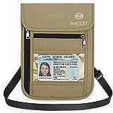 WACCET Portadocumentos de Cuello Protección RFID Portadocumentos de Viaje Unisex con Bolsillos de Cremallera, Colgante Cartera de Viaje para Documentos Tarjetas de Crédito Monedas (Beige)