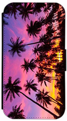 FioMi Flip Cover Schutz Hülle Handy Tasche Etui Case für (Apple iPhone 5 / 5s, 749 Fußball in Flammen Feuer Rot Schwarz) 750 Palmen Schwarz Lila Gelb