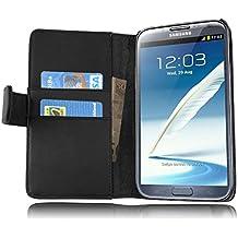 Cadorabo - Funda Samsung Galaxy NOTE 2 (N7100) Book Style de Cuero Sintético Liso en Diseño Libro - Etui Case Cover Carcasa Caja Protección con Tarjetero en NEGRO-DE-CAVIAR