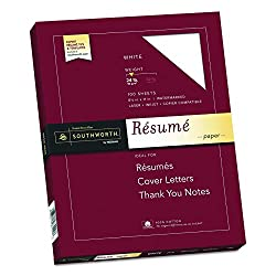 "Southworth 100% Cotton Resume Paper, 8.5"" x 11"", 24 lb, White 100 Sheets"
