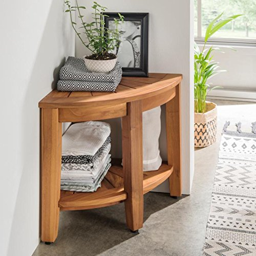 Destiny Beistelltisch Halbrund Badezimmer Regal Tisch Teak Teaktisch 40x40x41,5