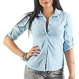 Mississhop 169 Damen Klassische Hemdbluse Business Hemd Casual Bluse Oberteil Top Tunika T-Shirt tailliert Unifarben Uni Hellblau L