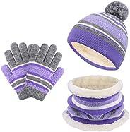 VBIGER Sombreros de Caliente Punto para Niños y Niñas con Forro de Felpa Corta, Set de Bufanda, Gorro y Guante