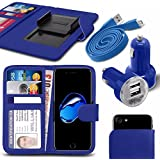 """Asus Zenfone 4 Selfie Pro ZD552KL (5.5"""") - Fall Super-Essentials Pack Clamp Frühlings-Art PU-Leder-Mappe + Dual Einschuss Charger + Micro-USB-1 Meter flache Datenkabel - Hot Blue"""