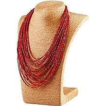 37a037f4c090 fablcrew – Collar con colgante para Mujer – collar multicapa perlas  Turquesa – rojo ...