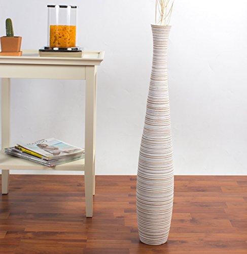 Jarrón de Suelo 75 cm, Madera de Mango, White Wash