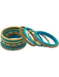 ANNAM Blue & Yellow Silk Thread Bangle Set For Women - Set Of 11 (Size: 2.6, ANNAM1)