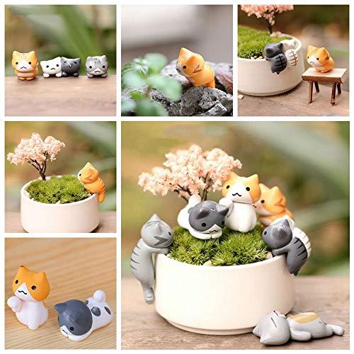 (okdeals Miniatur-Gartenornament, niedliche Katzen, hübsche Dekoration, Cartoon-Tiere, Miniatur-Statue, Kunstharz, 6 Stück)