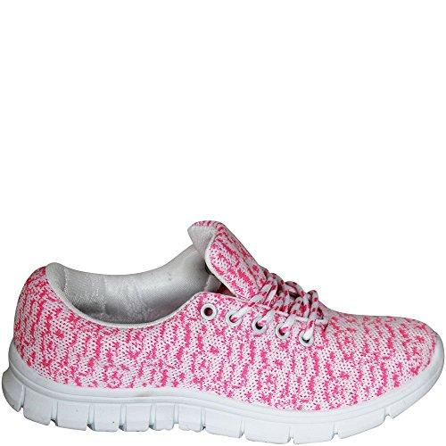 RUAN Coole Trend Sneaker Damenschuhe Neon Farben Trendfarben Halbschuh Sommer Damensneaker blau-gelb, schwarz-pink, weiß-pink, pink-weiß, pink-blau, schwarz NEU 2016 V1598 (40, pink-weiß)