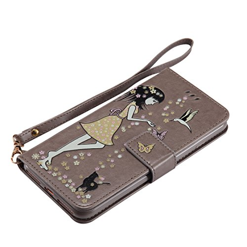 iPhone 7 Plus Custodia Case, iPhone 7 Plus Copertura 5.5, Design PU Leather Flip di cuoio case Portafoglio con slot per schede - albicocca Grigio
