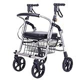 Älterer Walker Rollstuhl, leichte Aluminiumlegierung Faltender 4-Rad Einkaufstrolley mit gepolstertem Sitz, abschließbare Bremsen und tragen Korb - klein, schwarz