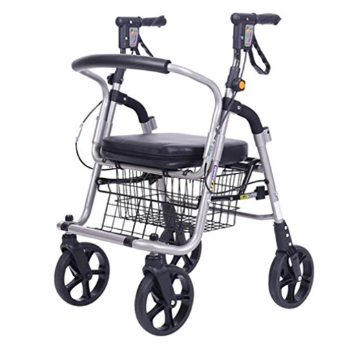 Älterer Walker Rollstuhl, leichte Aluminiumlegierung Faltender 4-Rad Einkaufstrolley mit gepolstertem Sitz, abschließbare Bremsen und tragen Korb - klein, schwarz (Vier-rad-rollator)