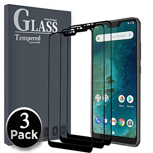 Ferilinso Cristal Templado para Xiaomi Mi A2 Lite, [3 Pack] [Cubierta Completa] Protector de Pantalla Screen Protector para Xiaomi Mi A2 Lite(Negro)