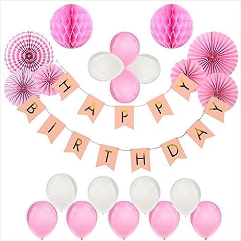 Foonii 22Pièces Happy Birthday Rose Bannière Tissue Joyeux anniversaire Fête Thème Rose Boules de Fleur en Papier Lanterne Guirlandes Fanions Kit, Thème rose anniversaire Fête