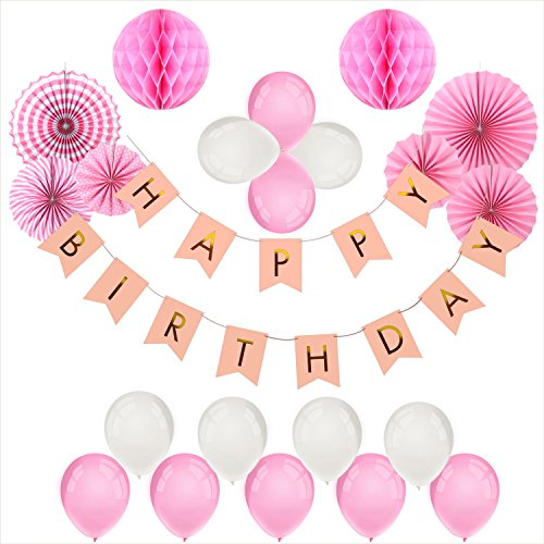 Foonii 22er Geburtstag Dekoration Set Happy Birthday, Mädchen Geburtstagsparty Luftballons pink Motiv Fahne f¨¹r Geburtstag Party Dekoration Kindergeburtstag Deko