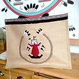 Sac cabas en toile de jute brodé à la main avec mandala amérindien - peinture de sable Navajo
