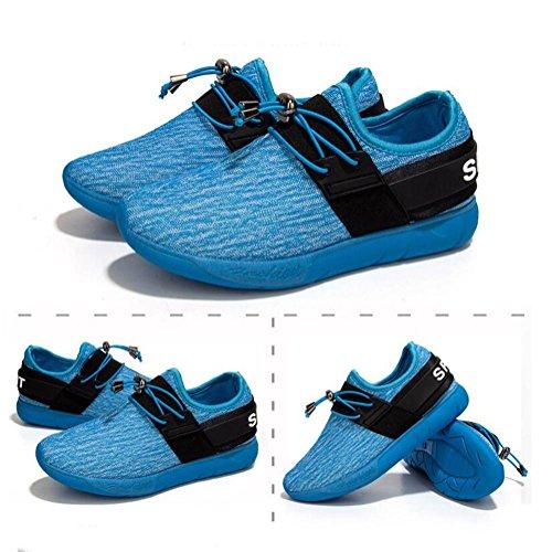Ladies / Boys Sneakers casuali traspiranti estate e autunno moda scarpe sportive in maglia elastica leggero e durevole Blue
