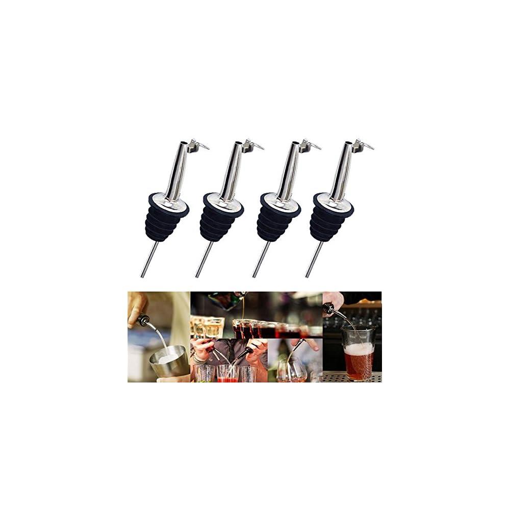 Musuntas 4 X Flaschenausgieer Mit Klappe Metallklppchen Fr Wein Schnaps Olivenl Kaffee Sirup Essig Flaschen Kunststoffkorken L Ausgieer