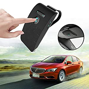 Dkings Universal Bluetooth Visier Clip Multipoint Freisprecheinrichtung Kfz-Freisprecheinrichtung – Kabelloser USB-Sonnenblende-Kfz-Lautsprecher mit Kfz-Ladegerät für Apple iPhone, Samsung Galaxy S10