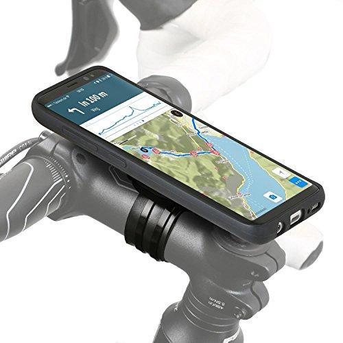 QuickMOUNT Fahrrad Halterung kompatibel mit Samsung Galaxy S9, Lenker-Vorbau Befestigung mit Regenponcho und Schutzhülle für Galaxy S9 MTB Rennrad Motorrad Navigation (5,8 Zoll, schwarz)