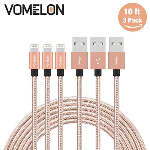 Lightning Kabel, 3Pack 10ft Nylon geflochten Extra lange Tangle-Free Cord Lightning Kabel Zertifiziert für USB iPhone Ladegerät für iPhone 7/7 Plus / 6S / 6 Plus, SE / 5S / 5, iPad, iPod Nano 7 (5 Ipod Free Fällen)