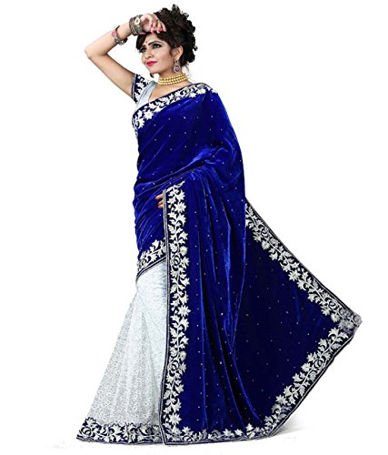 V-Art Women\'s Velvet & Net Saree (Sablueval_Blue & White)