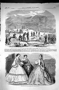 Una Stampa Antica del Punto 1860 di Garibaldi Faro Messina Fort Torre Di Cavallo Cala…