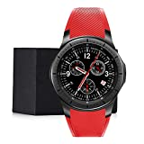 Konnison-09 Intelligente Uhr 3G, WiFi GPS Android Bluetooth Smartwatch, Männer-Frauen-Sport-Armbanduhr 8GB + 512MB Pulsmesser 1.39', Android 5.1,Red