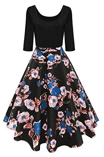 Axoe Damen 50er Jahre Vintage 1/2 Arm Rockabilly Kleid Abendkleid Pin Up Festliches Cocktailkleid Geblümte Knielang Gr.XXL (50er Jahre Pin Up Kleid)