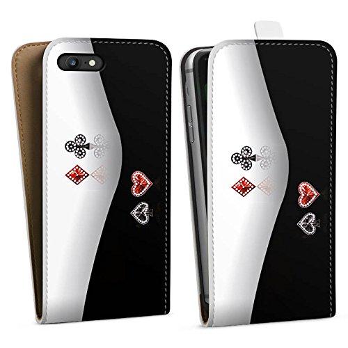 Apple iPhone X Silikon Hülle Case Schutzhülle Kreuz Karo Herz Downflip Tasche weiß