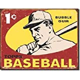 Poster Revolution Topps Baseball Cards 1959 1 Cent Sports Bubble Gum Distressed Retro Vintage Tin Sign by