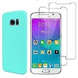 E-Mandala CustodiaSamsung Galaxy S6Blu Chiaro SiliconeGelGommaUltra Slim + Vetro Temperato Pellicola Protettiva Film
