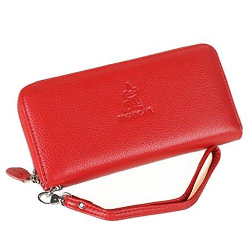 Ms. portafoglio lungo tratto femminile della pochette semplice borsa della frizione di modo della borsa cerniera ( colore : Rosso ) Rosso