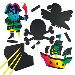 kratzbild magnete piraten scratch art mit regenbogenfarben f r kinder zum basteln f r. Black Bedroom Furniture Sets. Home Design Ideas