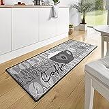 Hanse Home 102370 - Alfombra para Cocina (67 x 180 cm), diseño de Taza de café, Color Gris