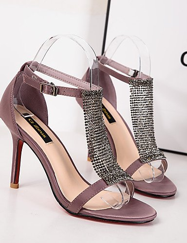 WSS 2016 Chaussures Femme-Habillé-Noir / Violet-Talon Aiguille-Talons / Bout Arrondi / Bout Ouvert-Talons-Similicuir black-us5 / eu35 / uk3 / cn34
