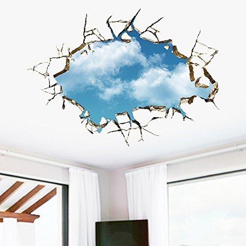 Winhappyhome 3D FäLschungs Wand Aufkleber Naturgetreue Blue Sky Wolken für Schlafzimmer Wohnzimmer Decke Backgroud Entfernbare Dekor Abziehbilder # 039 (Decke-wand-abziehbilder)