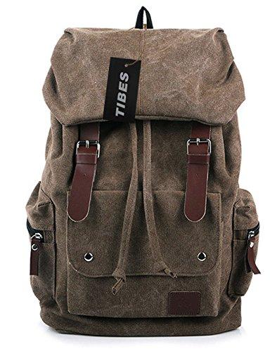 Tibes portables sacs nouveau style rétro classique sac à dos de toile pour les femmes / hommes Marron
