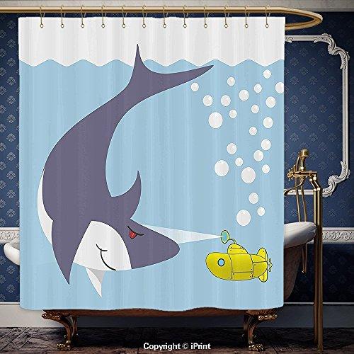 iPRINT 72x 72pulgada cortina de ducha amarillo Submarino Tiburón con burbujas de barco en Ocean bajo el mar tema animales dibujos animados decoración azul gris amarillo poliéster baño accesorios decoración del hogar