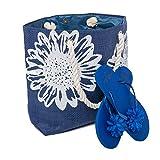 Strandtasche Damen + Zehentrenner Tasche Größe 46 x 33 cms Blume Muster Airee Fairee