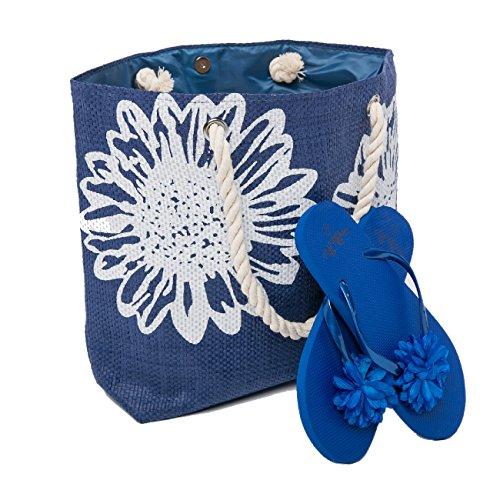 Borsa da Spiaggia Donna + Infradito 2 Pezzo Floral Grande Borsa Airee Fairee Blu