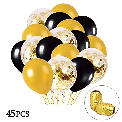 MMTX Luftballons Schwarz Gold 45 Stück Silvester Luftballons, Ballons Gold mit Gold Konfetti Luftballon für Damen Herren Geburtstag Deko, Deko Silvester 2019, Abschluss Halloween Party