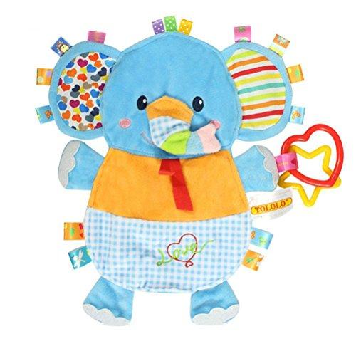 TOYMYTOY Juguetes para dormir del bebé Los juguetes del edredón con los delantales ambientales pueden morder para los niños recién nacidos de la muchacha del bebé Niños (elefante)
