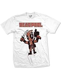 cb98bdad Deadpool Cartoon Bullet Official Mens White Short Sleeve T-Shirt Marvel  Comics